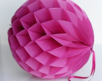 Fuchsia  Tissue paper honeycombs -  hanging wedding party decorations