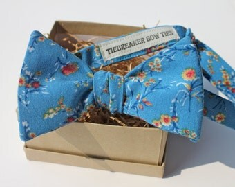 Blue Floral Bow Tie - Mens Bow Tie - Womens Bow Tie - Freestyle, Adjustable Bow Tie - Upcycled Bow Tie