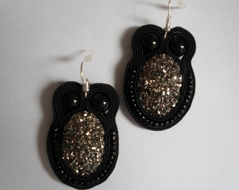 Black sparkly handmade soutache  earrings