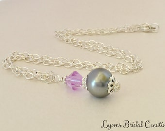 Grey Pendant Necklace Purple Crystal Necklace Grey Pearl Necklace Mother of the Bride Gift Wedding Gift Jewelry Set Bridesmaid Gift