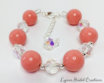 Coral Pearl Bracelet Crystal Bracelet Bridesmaid Bracelet Bridesmaid Gift Mother of the Bride Gift Wedding Jewelry Coral Shell Pearl