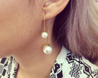 Double Pearl Post Dangle Earrings