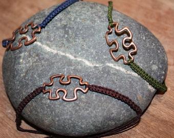 Boho Chic Copper Puzzle Piece Bracelet, Adjustable Nylon Braided Macrame Cord, Leaf Charm Dangles, Hippie Bracelet, Autism Awareness Puzzle