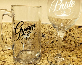 Bride and groom beer mug and wine glass wedding/ engagement gift