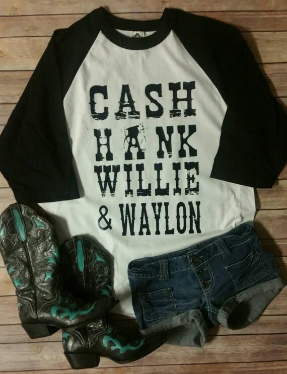 Cash Hank Willie Amp Waylon Raglan Shirt Unisex