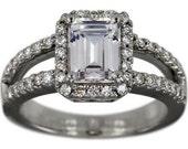 Emerald Cut Diamond Halo Split Shank Engagement Ring Setting
