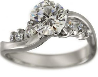 Twisted Engagement Ring 0.75 Carat Round Diamond In 14k White Gold And Diamonds