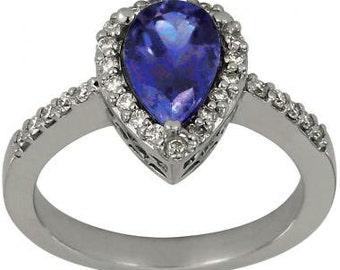 Tanzanite Pear Shape In Tanzanite Engagement Ring Vintage Ring 14K White Gold