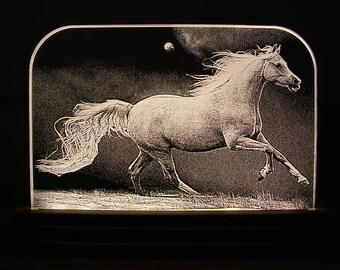 Running horse L.E.D. edge lit engraving