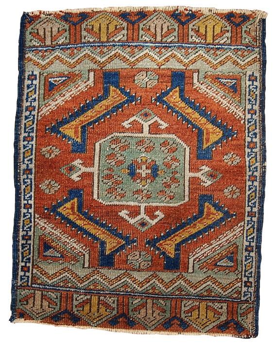 Turkish Yastik Rug: 1.8' X 2' 54cm X 60cm Hand Made Antique By OneRoyalArt On Etsy