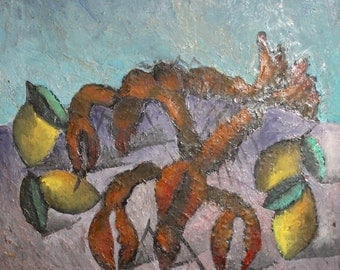 Vintage still life oil expressionist painting