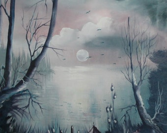 Impressionist landscape moon light & boat oil painting signed