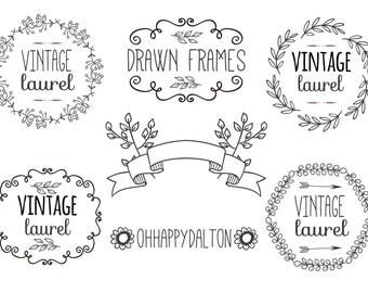 DIGITAL DOWNLOAD Hand Drawn Laurels & Labels