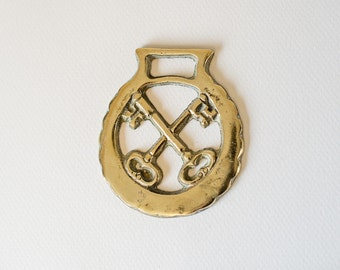 Horse Brass - Crossed Keys Equestrian Collectable