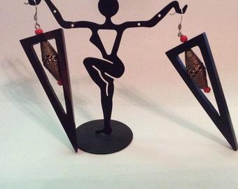 Modern ebony and bronze earrings