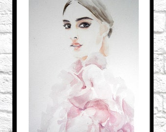 Original Watercolor Painting, original fashion illustration girl in pink, original warercolor fashion illustration  on warercolor paper