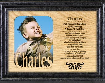 Personality Profile for Boys - Name Matte with Origin and Meaning + Oak Frame