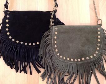 Leather crossbody bag, fringe bag, suede bag, suede tassel, studded bag, fringed leather bag, Argentinian leather, black, green