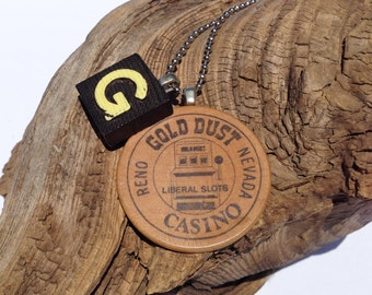 Scrabble / Casino Wood Nickle Game Piece Necklace