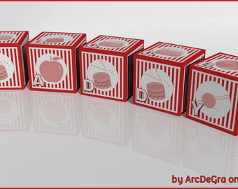 Educational Red Digital baby ABC blocks - Alphabet -Papercraft Digital Toys by Arcdegra