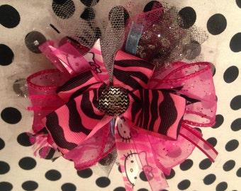 Hello Kitty Large Hair Bow / Clip ~~ Pink, polka dots & black