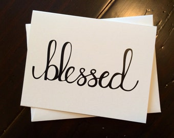 Blessed Card - folded, hand lettered notecard with envelope