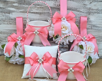 Wedding Flower Set Coral-Flower Girl Basket, Ring Bearer Pillow, Guest Book and Flower Kissing Ball, Made To Order Collection, Satin Ribbon