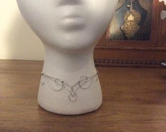 Silver metal choker, elven choker, silver metal necklace
