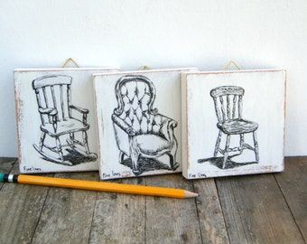 Miniature paintings - set of 3, Black and white print on wood, Chairs wall art print, Dorm wall art, Kitchen decor, Rustic kitchen