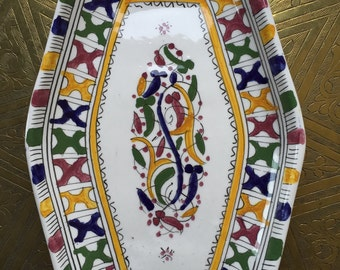 Hand-painted Moroccan Ceramic Serving Dish / Platter - Multicolored