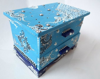 Blue Henna Designed Hand Painted Jewellery Keepsake Box