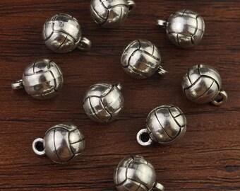 Volleyball,Sport Charm,Volleyball Charm,Volleyball Pendant,Antique Silver Tone 10mm-A