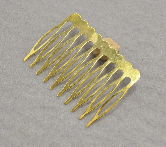 Gold plated metal comb 30pcs metal hair combs 10 teeth for Metal hair combs for crafts