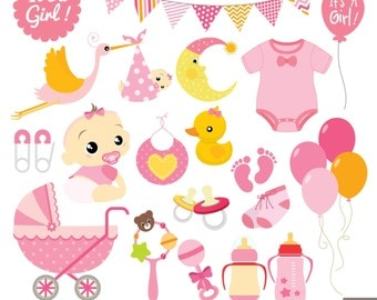 Girl Baby Shower Digital Clipart