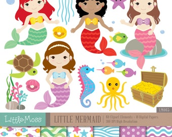 Little Mermaids Digital Clipart and Papers, Under the Sea Clipart