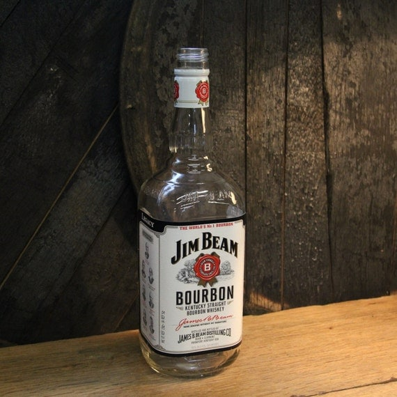 Empty Jim Beam Bourbon Whiskey Bottle Recycled Glass Bottle Recycled Candle Jar Whiskey Candle Empty Glass Bottle Vase Craft Supplies