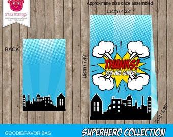 Instant Download Superhero Favor/Goodie Bag Template
