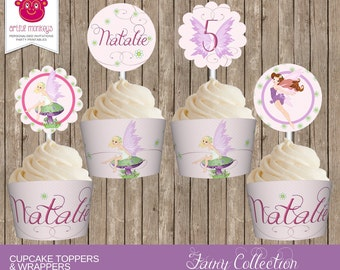 Personalised and Printable Fairy Cupcake Toppers and Wrappers