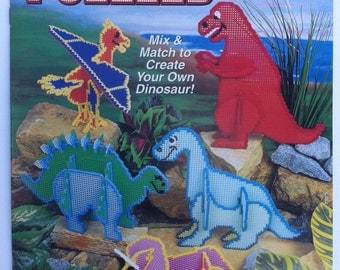 Dinosaur Puzzles quick and easy plastic canvas patterns. Annie's Attic 879507 3D dinosaur puzzle book.
