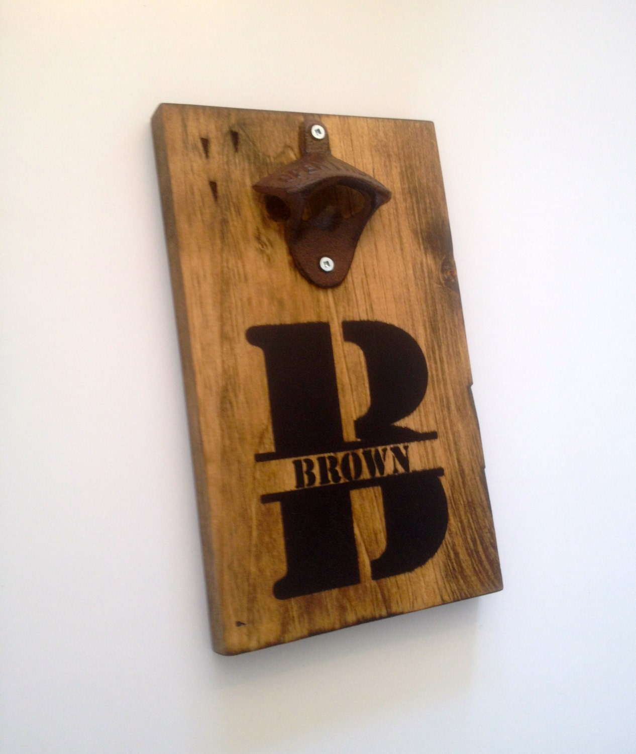 Personalized wall mount rustic bottle opener your name - Personalized wall mount bottle opener ...