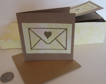 Gold Embossed Cards, Boxed set of 20 Cards, Partially Upcycled Cards, Brown Notelets, Envelope Cards, New Address Cards, Thank You Cards