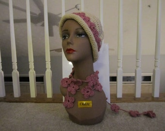 Crochet Hat with Lariat Necklace