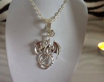 Clear Quartz Silver Dragon Necklace