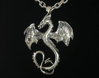 Pewter Dragon Pendant on Stainless Steel Chain