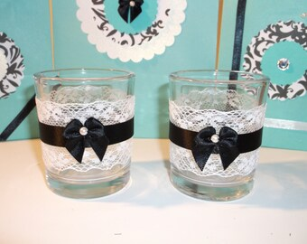 Black and white mini candle holders (set of 2)