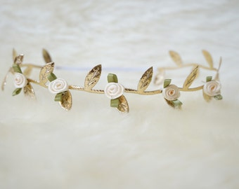 The Goldie- gold leaf with rosebuds headband