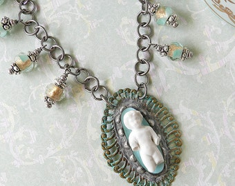 Vintage Frozen Charlotte Necklace - Mixed Media Necklace - Brass  Bezel Pendant - Resin Pendant - Soldered Bezel - Mixed Media Jewelry