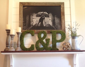 Moss Letter Initial - Home Decor, Rustic, Farmhouse, Wedding
