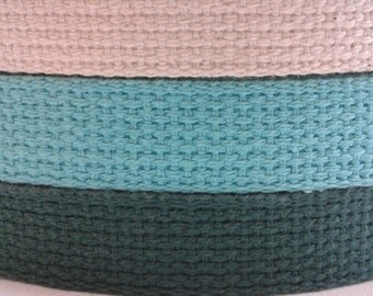 Cotton Webbing 1 Inch - Choose Length 3, 5, 10 Yards Choose Your Color (Dark Green, Turquoise Blue, Off-white/Beige)