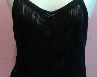 Black knitted tank top / camisole with fringe - From Thailand